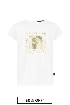 Aigner Baby Girls White Cotton Girls T-Shirt