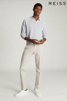 Reiss Blue Max Tipped Melange Polo Shirt