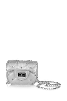 Girls Silver Studded Shoulder Bag