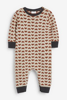 Tan Geo Knitted Romper (0mths-2yrs)