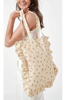 Nude Gingham Printed Cotton Shoulder Bag for Life