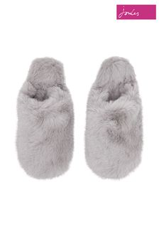 Joules Grey Cosy Faux Fur Mule Slippers