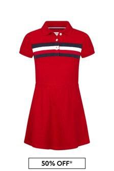 فستان قطن أحمر بناتي منTommy Hilfiger