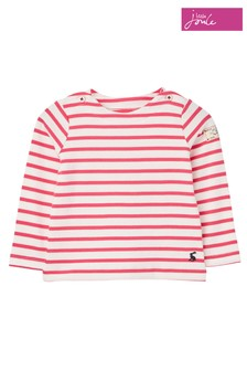 Joules White/Pink Stripe Harbour Stripe Jersey Top