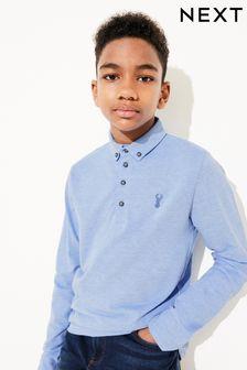 Light Blue Long Sleeve Pique Poloshirt (3-16yrs)