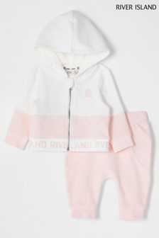 River Island Pink Light Pink Zip Through Velour Set
