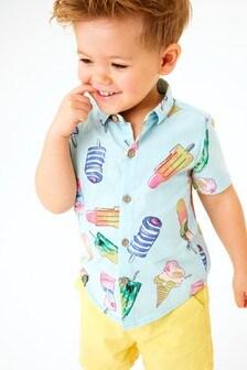 Blue Short Sleeve Print Shirt (3mths-7yrs)