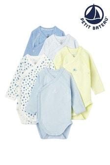 Petit Bateau Blue Bodysuits Five Pack