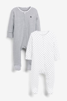 Monochrome 2 Pack Star Stripe Zip Sleepsuits (0mths-2yrs)