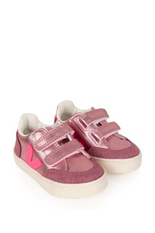 Girls Pink V-12 Velcro Trainers