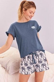 Blue Elephant Short Set