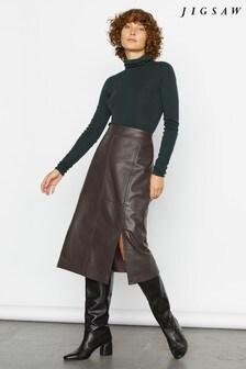 Jigsaw Brown Leather Split Midi Skirt
