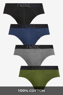 Khaki/Grey Pure Cotton Briefs Four Pack
