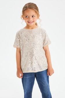 Silver All Over Sequin T-Shirt (3-16yrs)