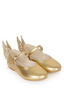Sophia Webster Girls Gold Evangeline Flat Pumps