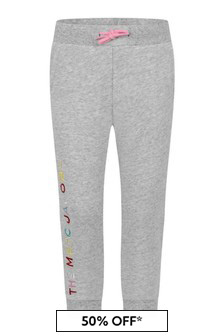 Girls Grey Cotton Logo Joggers