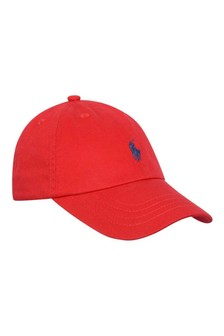 Boys Red Cotton Classic Cap