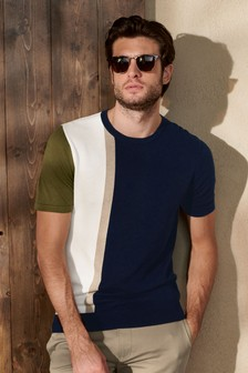 Navy/White Vertical Stripe Knitted T-Shirt