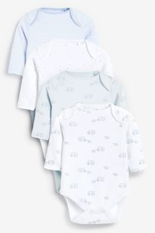 Pale Blue 4 Pack Organic Elephant Long Sleeve Bodysuits (0mths-3yrs)