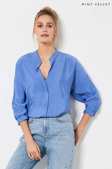 Mint Velvet Blue Oversized Longline Shirt
