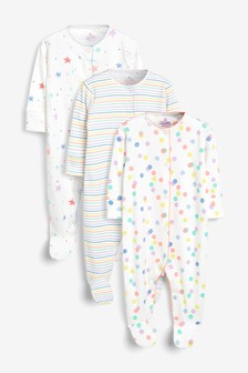 Multi 3 Pack Star Stripe And Spot Sleepsuits (0mths-2yrs)
