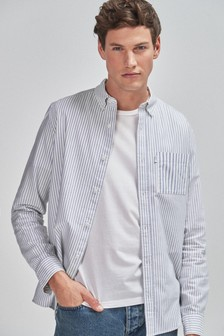 White/Blue Slim Fit Stripe Mixed Long Sleeve Shirt