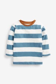 Teal/White Long Sleeve Stripe T-Shirt (3mths-7yrs)