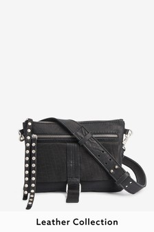 Black Leather Stud Across Body Bag