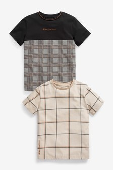 Monochrome 2 Pack Heritage Check T-Shirts (3-16yrs)
