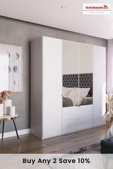 White Matt Monroe Four Door Combination Wardrobe With Mirror