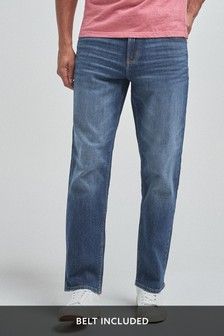 Mid Blue Straight Fit Belted Jeans