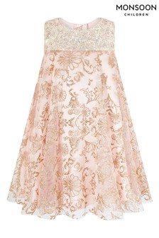 Monsoon Pink Baby Riona Glitter Print Dress