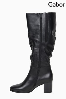 Gabor Verse Black Leather Knee Length Fashion Boots