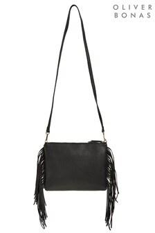 Oliver Bonas Black Alise Tasselled Black Clutch Bag