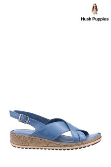 Hush Puppies Blue Elena Cross Over Wedge Sandals