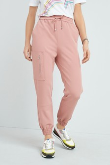Pink Zipped Casual Joggers