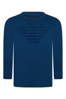Boys Blue Cotton Long Sleeve T-Shirt