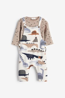 Blue Dinosaur Organic Cotton Dungarees/Bodysuit Set (0mths-3yrs)
