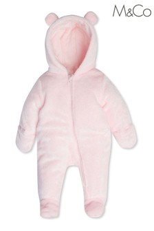 M&Co Pink Cosy Bear Pramsuit
