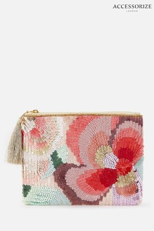 Accessorize Pink Tamsin Floral Sequin Pouch Bag