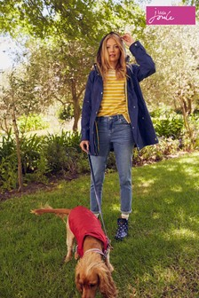 Joules Blue Shoreside Stripe Coat With Jersey Lining