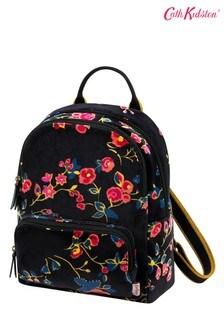 Cath Kidston® Black Millfield Rose Small Velvet Backpack