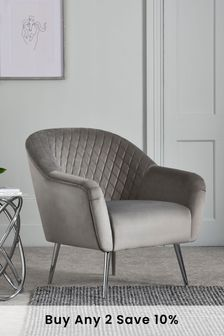 Opulent Velvet Steel Hamilton Armchair With Chrome Legs