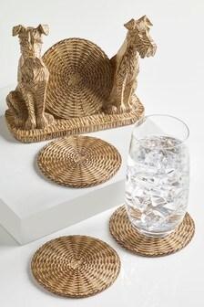 Set of 4 Dog Coasters & Holder