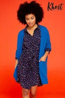Khost Blue Knit Longline Cardigan