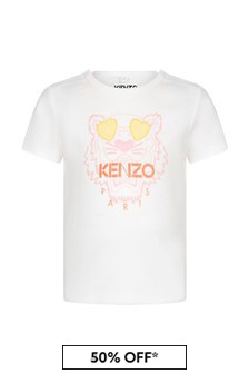 Kenzo Kids Baby Girls White Cotton T-Shirt