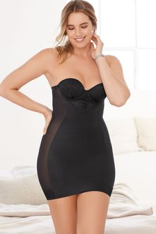 Black Firm Control Cupped Lace Slip