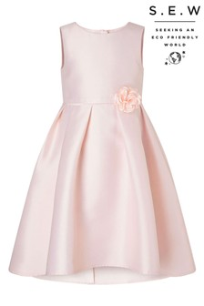 Monsoon Dusky Pink S.E.W Hi Low Duchess Twill Dress