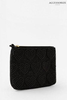 Accessorize Black Harrie Heart Beaded Pouch Bag