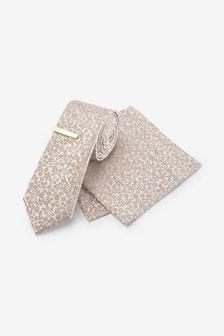Champagne Floral Silk Tie, Pocket Square Set And Tie Clip Set